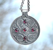BATTERSEA, LUXURY BRYTHONIC JEWEL INSPIRED BY THE FIND, GEMSTONES, SILVER 925, 11 G - FILIGREE AND GRANULATED REPLICA JEWELS