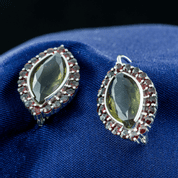 ACAIA, SILVER EARRINGS, MOLDAVITE, GARNET - MOLDAVITES, CZECH JEWELS