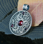 EAGLE HEADS, TRISKELE, ANGLO-SAXON PENDANT, STERLING SILVER - FILIGREE AND GRANULATED REPLICA JEWELS