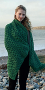 ROWAN PLAITED CELTIC BLANKET GREEN - WOOLEN BLANKETS AND SCARVES, IRELAND