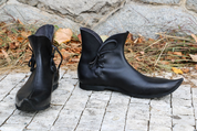 MEDIEVAL LOW SHOES, BLACK - GOTHIC BOOTS