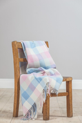 PINK AND BLUE CHECK BABY BLANKET - WOOLEN BLANKETS AND SCARVES, IRELAND