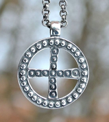 SLAVIC SOLAR CROSS, EMPIRE OF MORAVIA MAGNA, SILVER PENDANT, AG 925 - PENDANTS - HISTORICAL JEWELRY