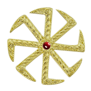KOLOVRAT WITH GARNET, SLAVIC PENDANT, 14K GOLD - GOLDEN JEWELLERY