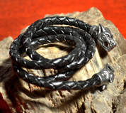 VIKING WOLF BRAIDED LEATHER BOLO - CORDS, BOXES, CHAINS