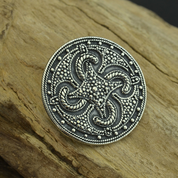 VIKING SWASTIKA THUMBY-BIENEBEK, BROOCH, SILVER - REPLICA - FILIGREE AND GRANULATED REPLICA JEWELS