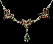 VICTORIA, CZECH MOLDAVITE, GARNET, SILVER NECKLACE - MOLDAVITES, CZECH JEWELS