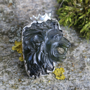 LION, RAW MOLDAVITE PENDANT, STERLING SILVER - GLYPTICA - MOLDAVITES, CZECH JEWELS