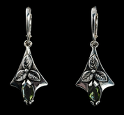 SHAMROCK, EARRINGS, MOLDAVITE, SILVER - MOLDAVITES, CZECH JEWELS