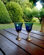 BLUE HUE, GOBLET, BLUE GLASS AND PEWTER - HISTORICAL GLASS