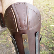 HEAVY LEATHER GREAVES REINFORCED WITH STEEL STRIPS, PRICE FOR THE PAIR - LEATHER ARMOUR/GLOVES