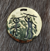 KRIGER, WARRIOR PENDANT, TANUM PETROGLYPH, BRASS - PENDANTS, NECKLACES