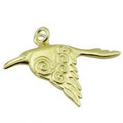 CORVUS CELTIC CROW PENDANT, 14K GOLD - GOLDEN JEWELLERY