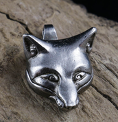 CELTIC FOX, HEAD, PENDANT, TIN - ANIMAL PENDANTS