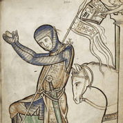 ONE-HANDED SWORD WESTMINSTER PSALTER XIII. CENTURY FULL TANG WITH STONE - MEDIEVAL SWORDS