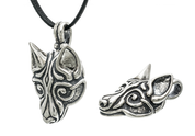 VIKING WOLF HEAD, SILVER PENDANT BY WULFLUND, AG 925, 16 G. - PENDANTS - HISTORICAL JEWELRY