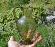 ANCIENT AMPHORA, ICE GLASS, GREEN GLASS - HISTORICAL GLASS