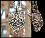 VIKING WOLF PENDANT, VIKING STYLE BORRE, BRONZE - VIKING PENDANTS