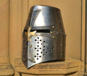 GRAND MASTER, CRUSADER GREAT HELMET WITH THE CROSS - MEDIEVAL HELMETS