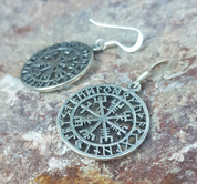 VEGVISIR, ICELANDIC RUNE EARRINGS, SILVER - EARRINGS - HISTORICAL JEWELRY