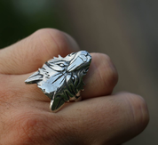 WOLF HEAD, WOLF, SILVER 925 RING - RINGS - HISTORICAL JEWELRY