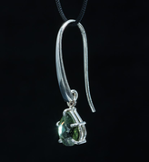SINOPE, EARRINGS, FACETED MOLDAVITE JEWELRY, SILVER - MOLDAVITES, CZECH JEWELS