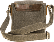 SHOULDER BAG WITH POCKETS, UNISEX, CANVAS, LEATHER - WOOLEN HANDBAGS & BAGS