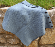 GORMELIA HERRINGBONE MERINO WOOL IRISH PONCHO - WOOLEN SWEATERS AND VESTS