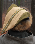VIKING CAP WITH EMBROIDERY, FOX FUR - BIRKA - HATS FOR MEN