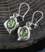 DANICA, GREEN AMBER, EARRINGS, STERLING SILVER - AMBER JEWELRY