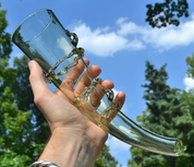 GLASS DRINKING HORN - HISTORICAL GLASS