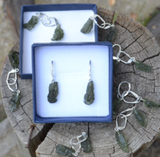 WILTH AHWA, RAW MOLDAVITE STERLING SILVER EARRINGS - MOLDAVITES, CZECH JEWELS