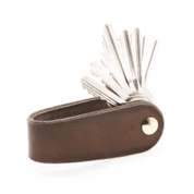 MORLEY, LEATHER KEYCHAIN BROWN - WALLETS