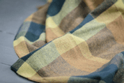 PEACOCK SMALL CHECK THROW, LAMBS WOOL BLANKET - WOOLEN BLANKETS AND SCARVES, IRELAND