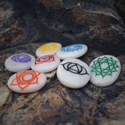CHAKRA SYMBOLS ENGRAVED SET, WHITE KING AGATE CABOCHONE, SET OF 7 - DECORATIVE MINERALS AND ROCKS