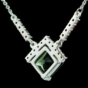 ETAIN, SILVER NECKLACE, MOLDAVITE, GARNET - MOLDAVITES, CZECH JEWELS