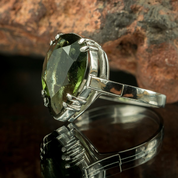 MONTANA - MOLDAVITE STERLING SILVER RING - MOLDAVITES, CZECH JEWELS