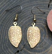 LEAVES, BRASS EARRINGS - CELTIC BRASS JEWELS, IMPORT FROM IRELAND