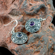 ISOLDA, AMETHYST, SILVER EARRINGS - EARRINGS WITH GEMSTONES, SILVER