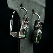 ADORA, SILVER EARRINGS, MOLDAVITE, GARNET - MOLDAVITES, CZECH JEWELS