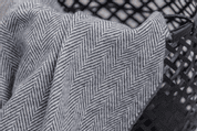 OXFORD AND WHITE HERRINGBONE THROW, CASHMERE, LAMBSWOOL - WOOLEN BLANKETS AND SCARVES, IRELAND