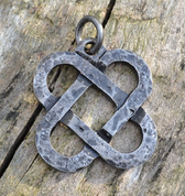 TWO HEARTS, FORGED CELTIC KNOTTED PENDANT, STEEL - CELTIC PENDANTS