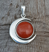 LUNA AND SUN, PENDANT, STERLING SILVER AND JASPER - MYSTICA SILVER COLLECTION - PENDANTS