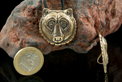 BEAR, HEAD, BRONZE PENDANT - PENDANTS, NECKLACES