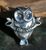OWL ON BRANCH, SILVER PENDANT - MYSTICA SILVER COLLECTION - PENDANTS