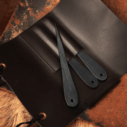 LEATHER CASE FOR THROWING KNIVES, BLACK - SHARP BLADES - THROWING KNIVES
