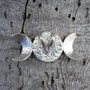THREE MOON, PENDANT, STERLING SILVER AND JASPER - MYSTICA SILVER COLLECTION - PENDANTS