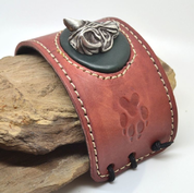 WOLF HEAD LEATHER BRACELET - WRISTBANDS