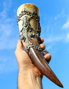 ART NOUVEAU DRINKING HORN - HORNS WITH TIN