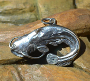 CATFISH, FISHING SILVER PENDANT, 925 - NAUTICAL SILVER JEWELRY